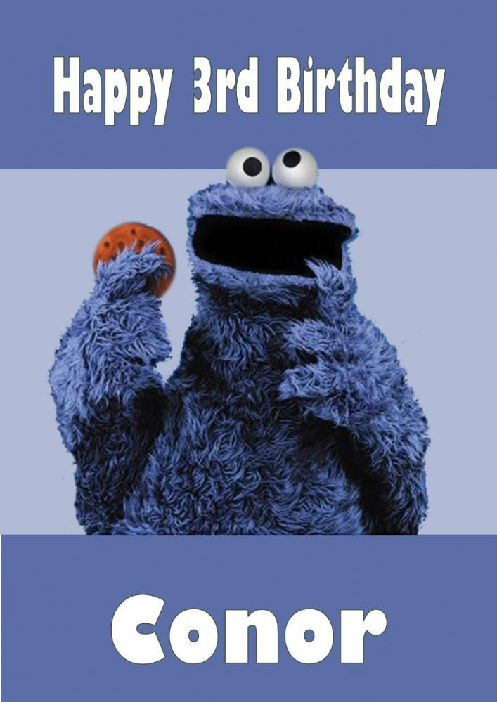 Personalised Cookie Monster Birthday Card
